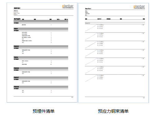 装配式BIM-预埋件清单+预应力钢束清单